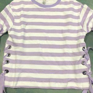A new day purple striped sweatshirt. Medium